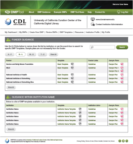 The DMPTool guidance page, with help from funders and your institution.
