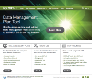 The new DMPTool home page, with updated content.