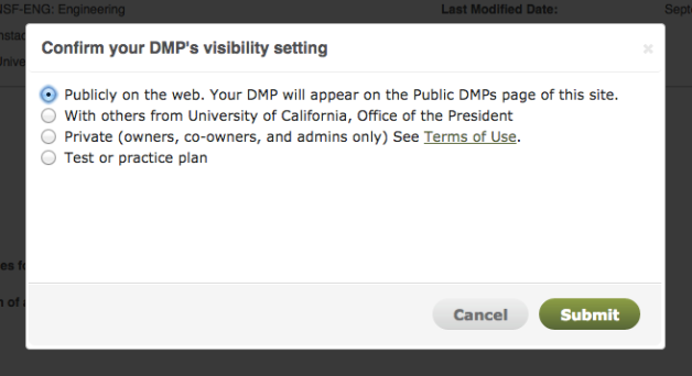 Confirm your DMP visibility choice message
