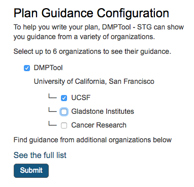 default guidance selections