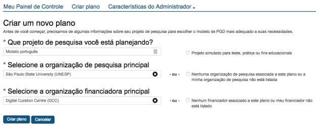 Brazilian Portuguese create plan options